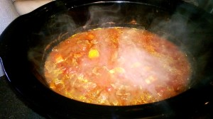 Beef Stew Ragu doing the hard work for me, in the crock pot. Steamy goodness!
