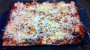Sprinkle any leftover filling and cheese over the enchiladas.