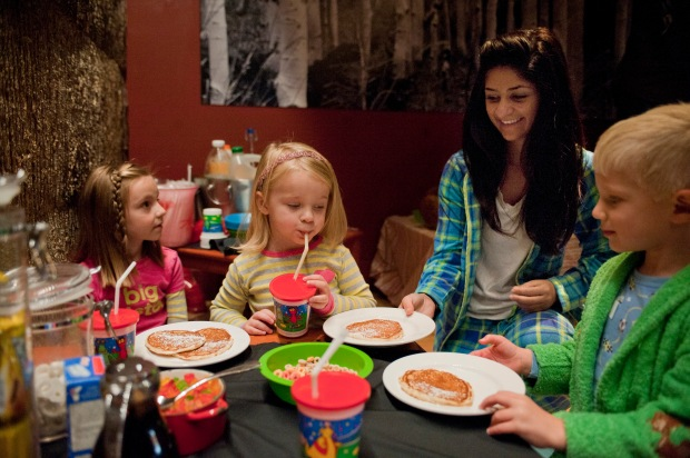 Kids having their own, fun brunch at Second Home's Pajama Brunch.