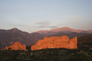 Garden of the gods lit up in sunset colors