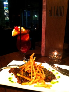 Steak or Carne a la Plancha with Bourbon Old Fashioned Sangria from Al Lado.