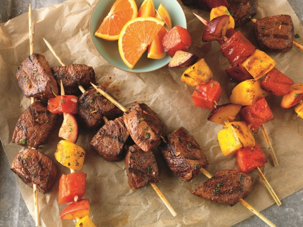 "Citrus Marinated Beef and Fruit Kabobs. Photo and recipe courtesy of ""Courtesy of The Beef Checkoff www.BeefItsWhatsForDinner.com"""