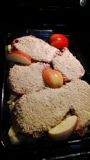 Apples added, skin-side-up so they don't dry out, the almost one-pot-meal is ready to cover with foil and bake.