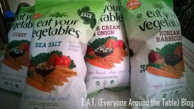 "A few of the ""Eat Your Vegetables"" chip varieties we sampled."