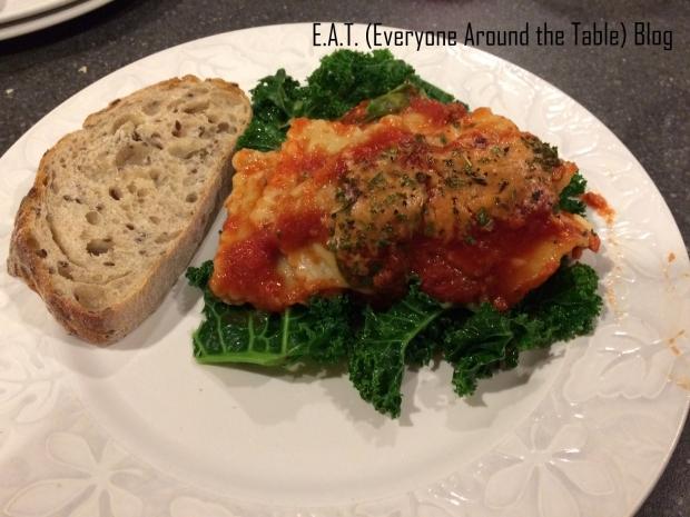 Ravioli lasagna served