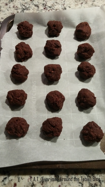 Roll up the dough into balls and get ready to bake the Mayan Mystery Cookies.