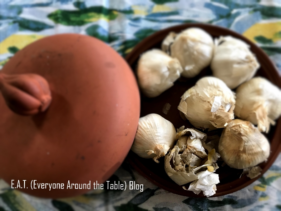 You can roast garlic in a Garlic Roaster or in just aluminum foil.